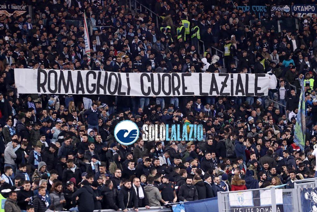 Lazio-Milan, striscione Romagnoli