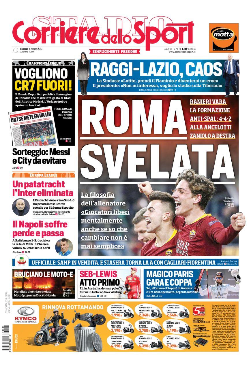 Prima pagina del Corriere dello Sport