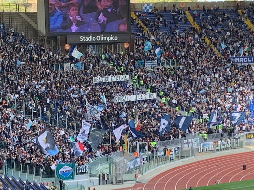 Lazio-Parma, striscione della Nord