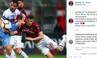 Milan-Lazio, Salvini commenta su Instagram