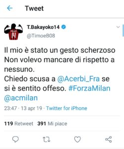 "Milan-Lazio, Bakayoko su Acerbi: ""Il mio un gesto scherzoso"""