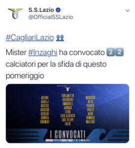 Cagliari-Lazio, convocati Inzaghi