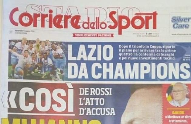 """Lazio, CorSport Roma: """"I biancocelesti da Champions"""" (FOTO)"""
