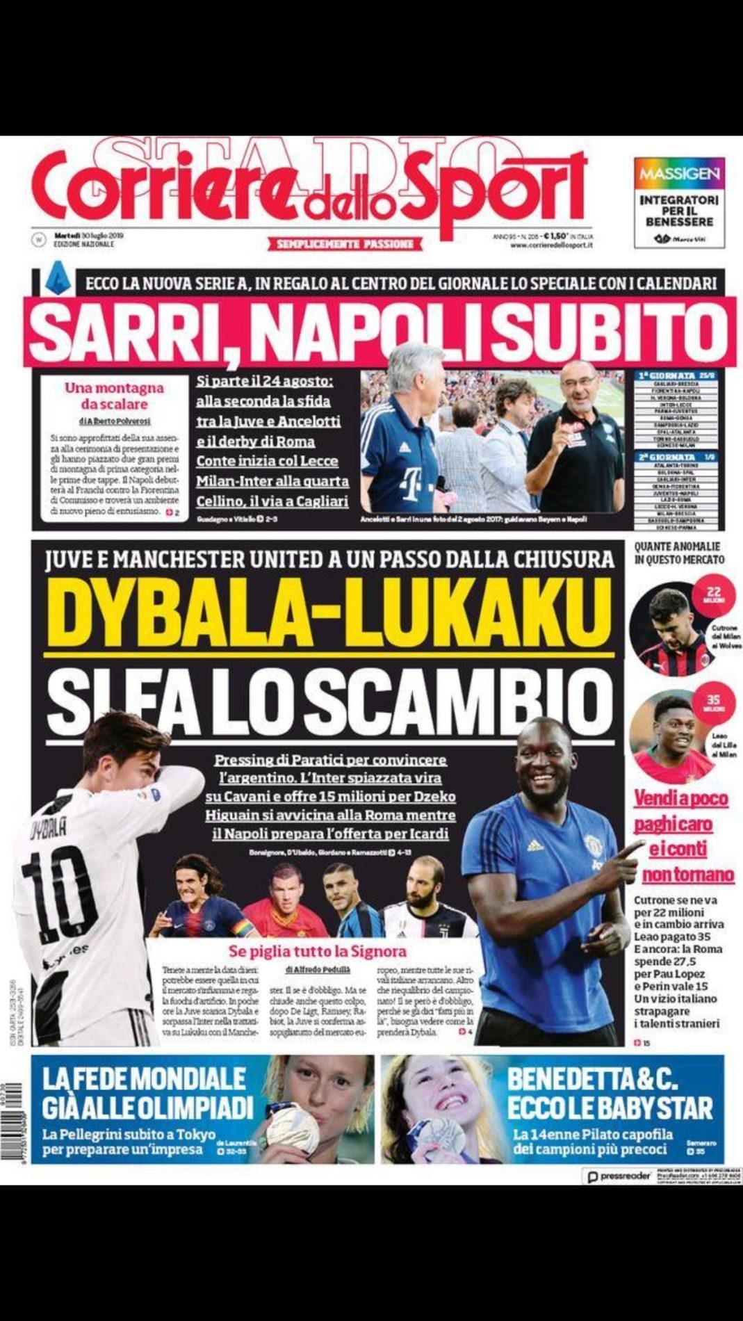 Corriere Dello Sport Calendario.Prime Pagine Dei Maggiori Quotidiani Sportivi