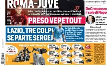 "Lazio, CorSport (ed. Roma): ""Tre colpi se va via Sergej"""