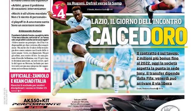 La prima pagina del Corriere dello Sport ed. Roma (FOTO)