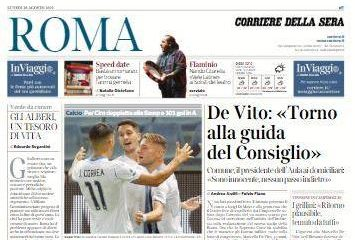 """Lazio, Corriere di Roma in prima pagina: """"I biancocelesti calano il tris"""""""