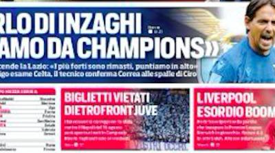 Prima pagina Corriere dello Sport-Roma 10/08/2019