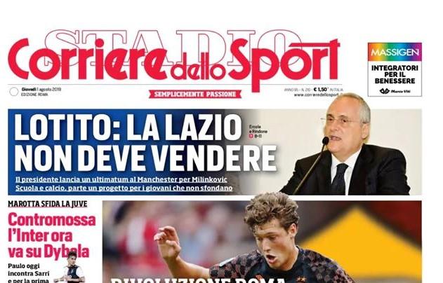 La Prima Pagina Del Corriere Dello Sport Edizione Roma