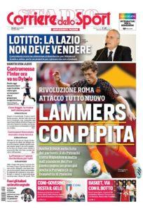 La prima pagina del Corriere dello Sport (edizione Roma)