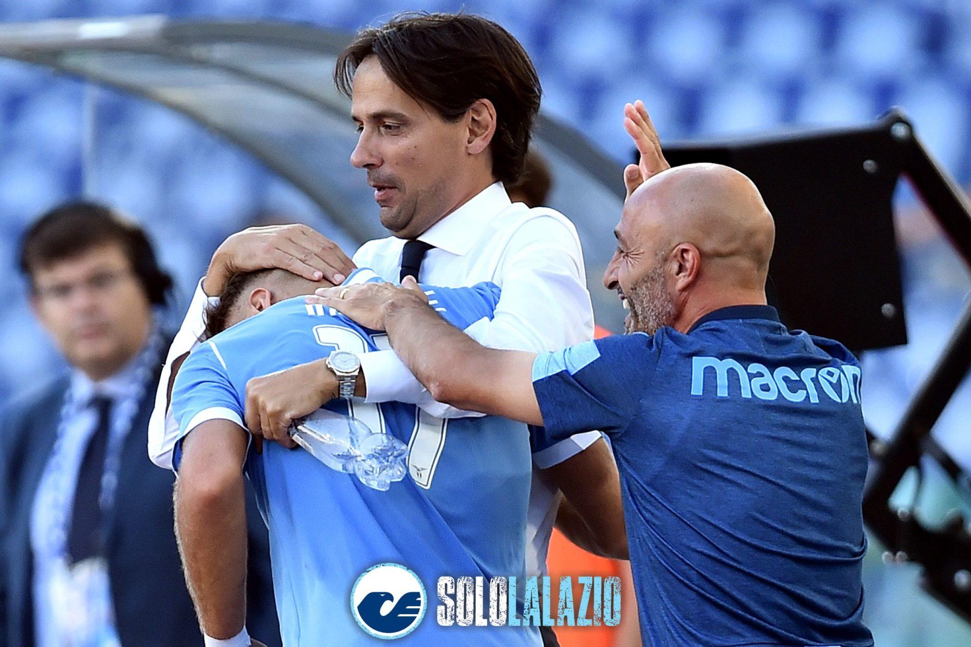 Lazio - Genoa, abbraccio Simone Inzaghi e Ciro Immobile