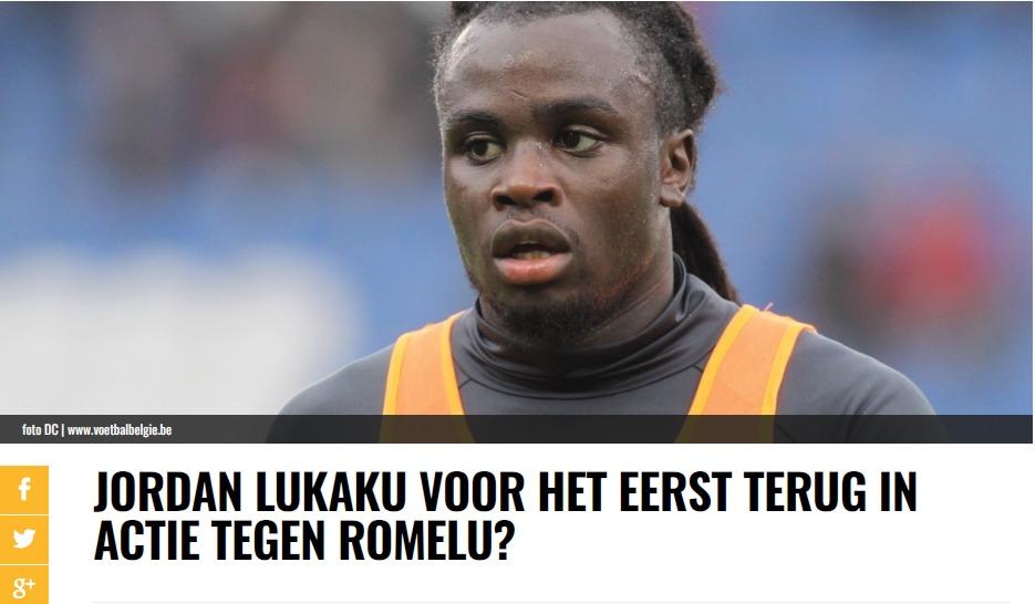 Jordan Lukaku sul sito voetbalbelgie.be