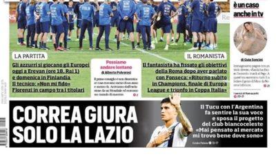 La prima pagina del Corriere dello Sport, ed. Roma (FOTO)