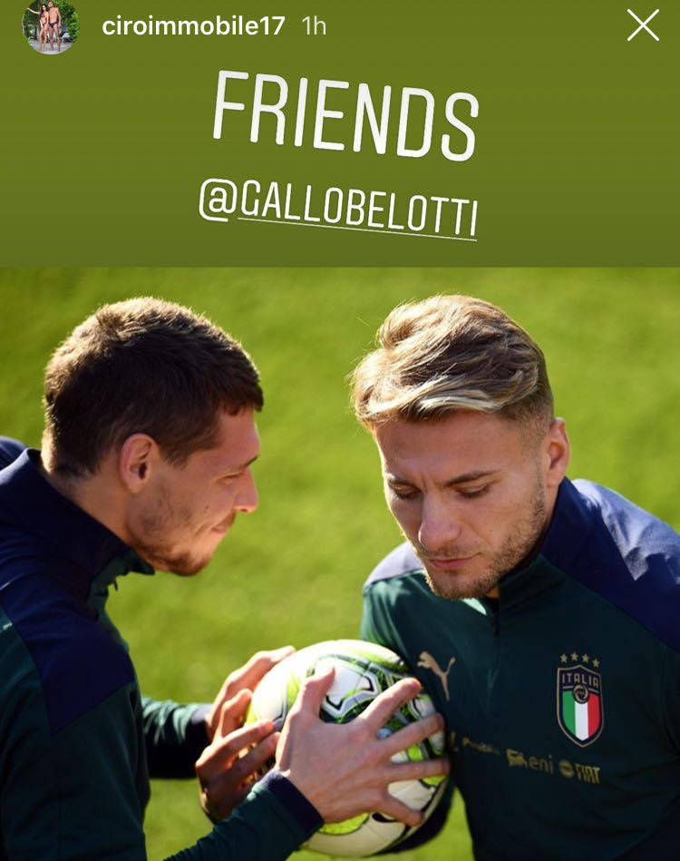 Immobile, la story Instagram con Belotti