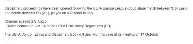 Lazio, procedimento Uefa ottobre 2019