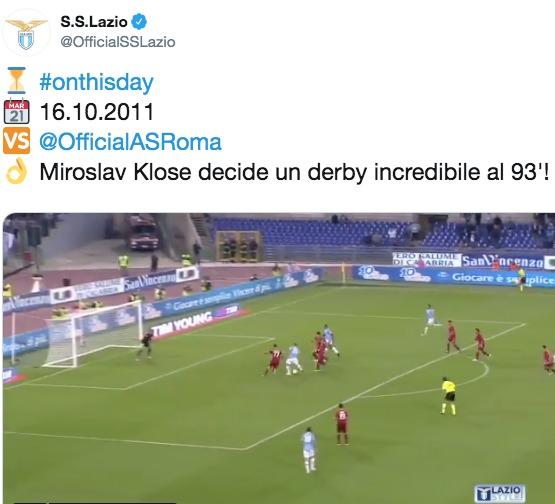 Lazio, anniversario derby Klose