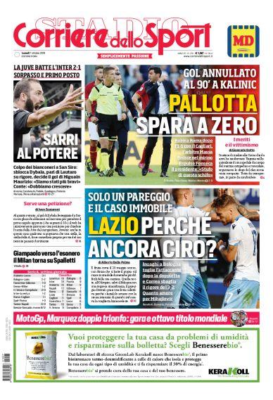 Rassegna stampa, Corriere dello Sport-Roma 7 ottobre 2019