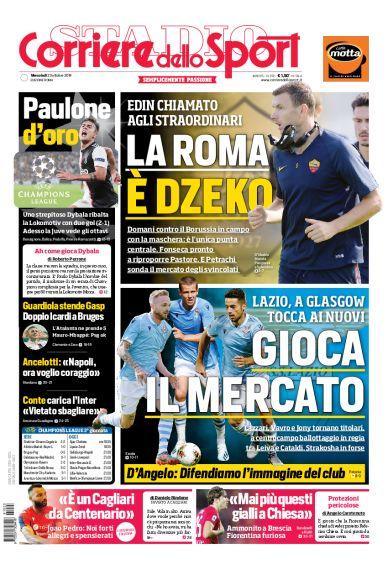 Lazio, prima pagina Corriere dello Sport-Roma 23 ottobre 2013