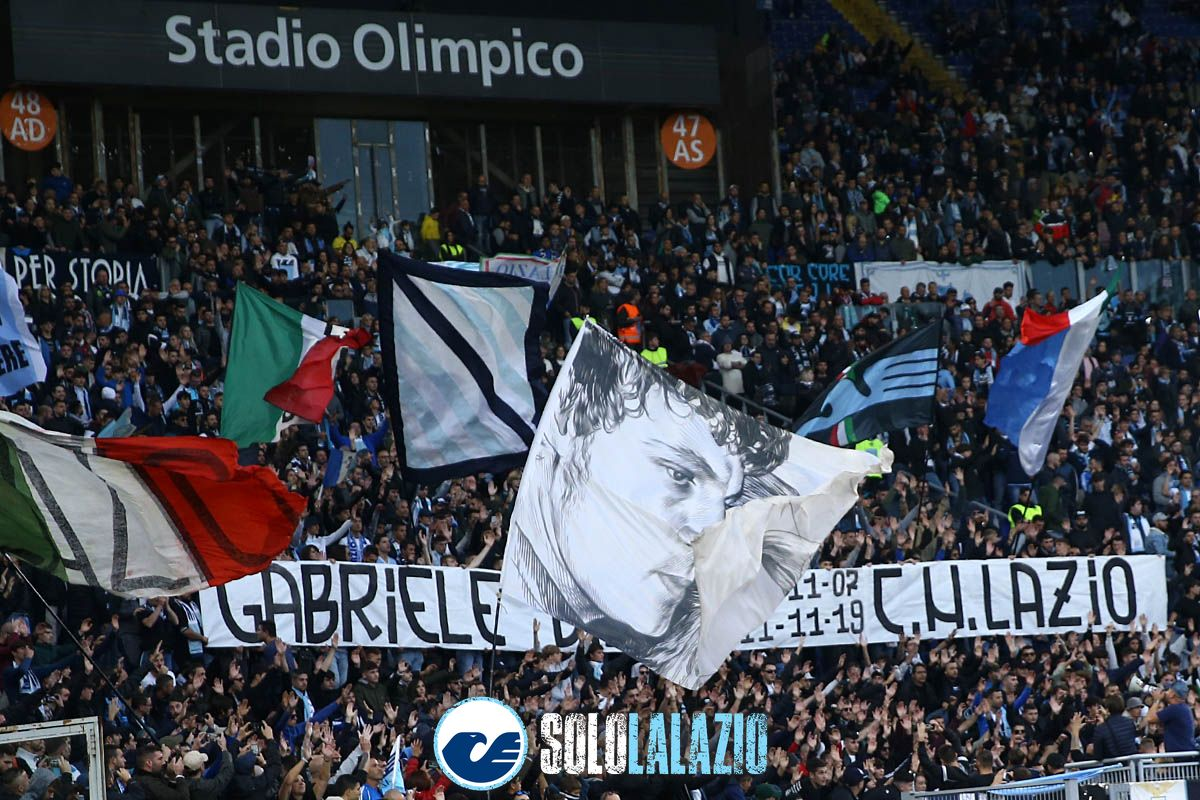 Lazio - Lecce, striscione della Curva Nord per Gabriele Sandri