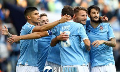 Lazio - Udinese, esultanza squadra Immobile