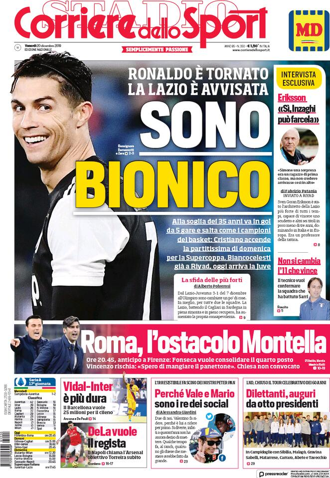 Le prime pagine dei principali quotidiani sportivi nazionali (FOTO)