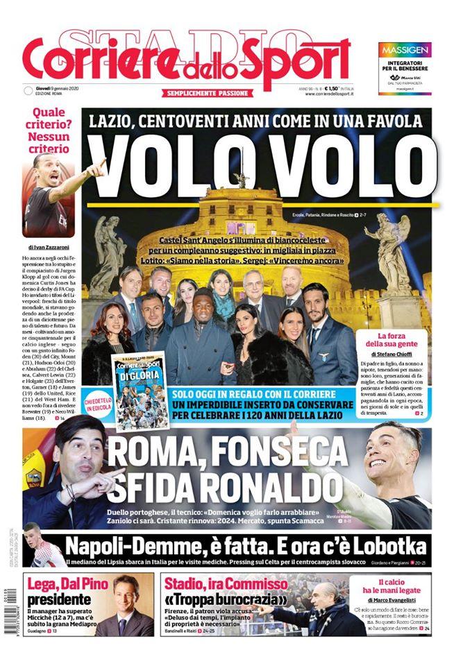 La prima pagina del CorSport Roma per i 120 anni della Lazio