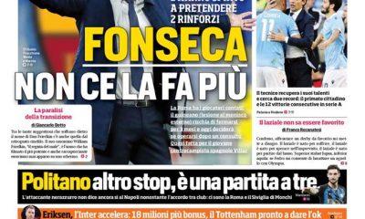 """La prima pagina del CorSport Roma: """"Inzaghi fa festa"""""""