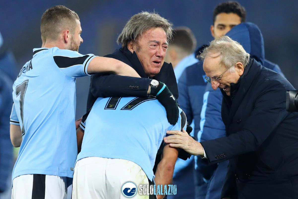 Lazio - Napoli, Maurizio Manzini esulta con Ciro Immobile