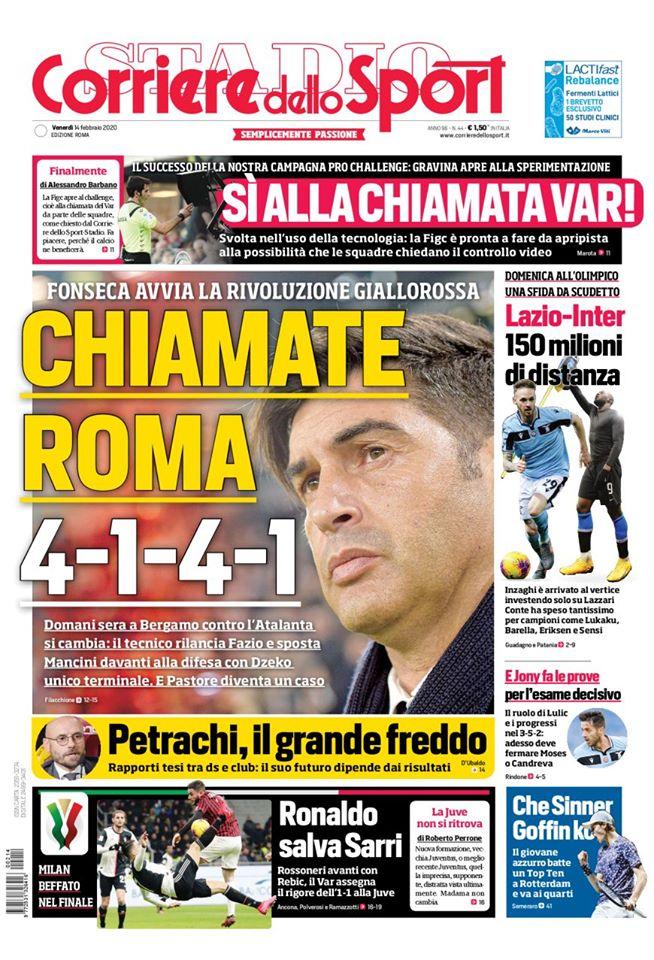 Lazio, la prima pagina del CorSport Roma (FOTO)