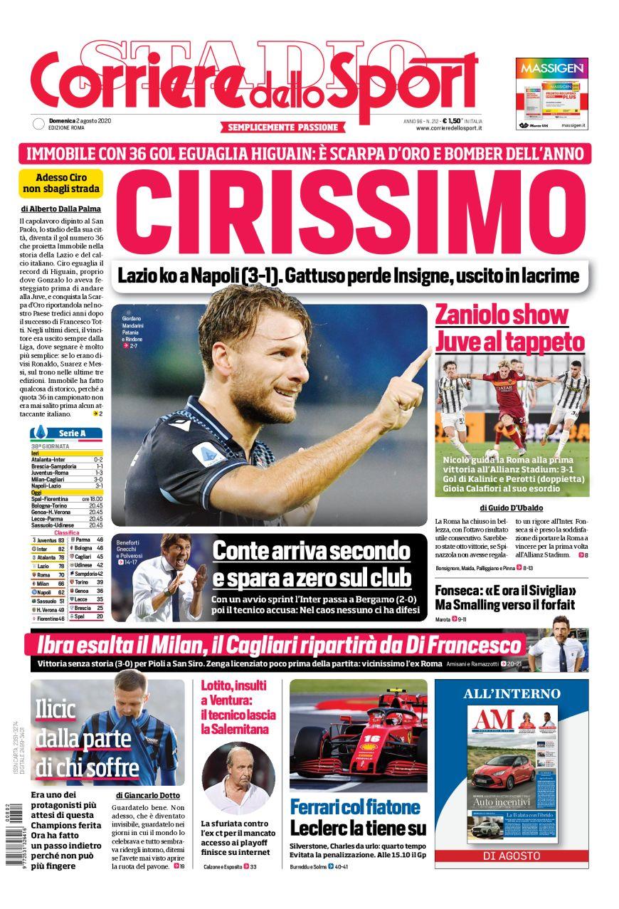 Lazio L Apertura Del Corriere Dello Sport Cirissimo Solo La Lazio